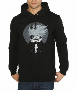 Naruto Hatake Kakashi Siyah Kapşonlu Erkek Sweatshirt