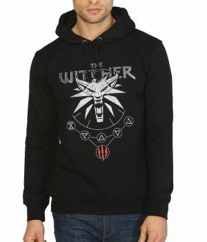 Witcher Wild Hunt Siyah Kapşonlu Erkek Sweatshirt