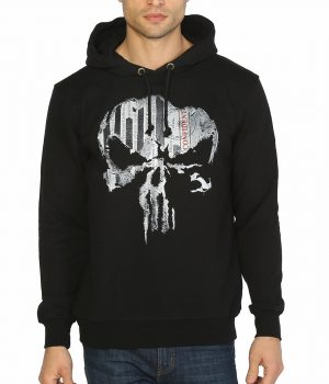 The Punisher Siyah Kapşonlu Sweatshirt