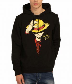 One Piece Monkey D. Luffy Siyah Kapşonlu Erkek Sweatshirt