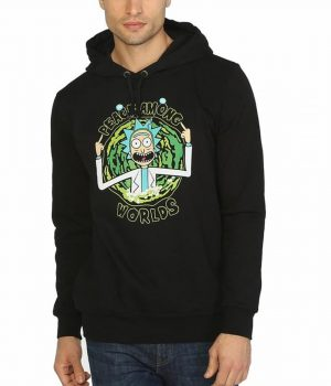 Rick And Morty Peace Among Worlds Siyah Kapşonlu Sweatshirt