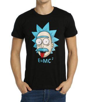 Rick and Morty Einstein Siyah Erkek Tişört