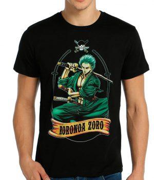 One Piece Roronoa Zoro Siyah Erkek Tişört
