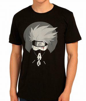 Naruto Kakashi Siyah Erkek Tişört