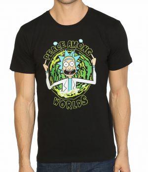 Rick And Morty Peace Among Worlds Siyah Erkek Tişört