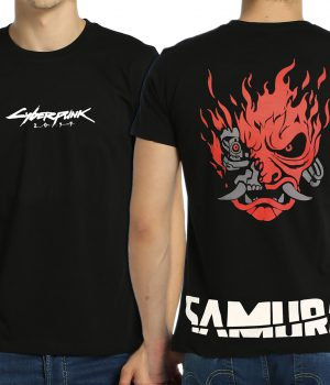 Cyberpunk 2077 Samurai Siyah Erkek Tişört