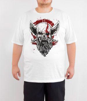 God of War Kratos 4XL Büyük Beden Beyaz Erkek Tişört