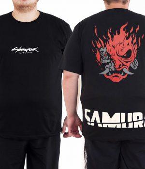 Cyberpunk 2077 Samurai 4XL Büyük Beden Siyah Erkek Tişört