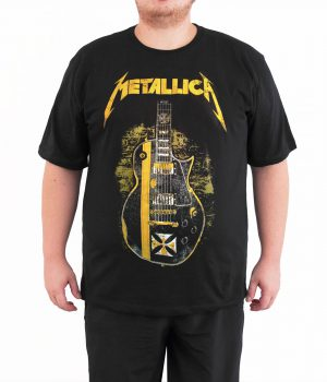 Metallica Gitar 4XL Büyük Beden Siyah Erkek Tişört