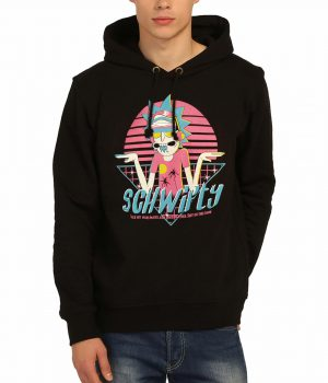 Rick and Morty Get Schwifty Siyah Kapşonlu Sweatshirt