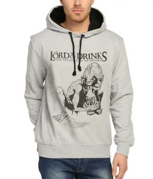 Lord Of Drinks Gri Kapüşonlu Erkek Sweatshirt