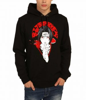 Naruto Uchiha Itachi Siyah Kapşonlu Erkek Sweatshirt