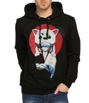 Gintama Siyah Kapüşonlu Erkek Sweatshirt