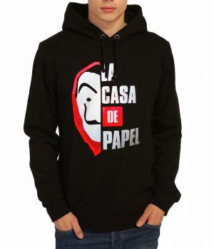 La Casa De Papel Siyah Kapşonlu Erkek Sweatshirt