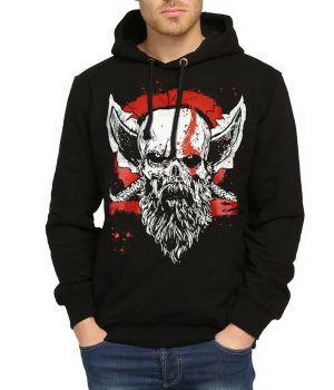 God of War Kratos Siyah Kapşonlu Erkek Sweatshirt