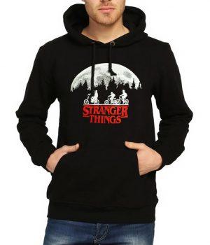 Stranger Things Siyah Kapşonlu Erkek Sweatshirt