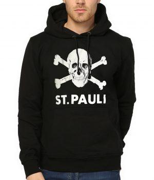 St. Pauli Siyah Kapşonlu Erkek Sweatshirt