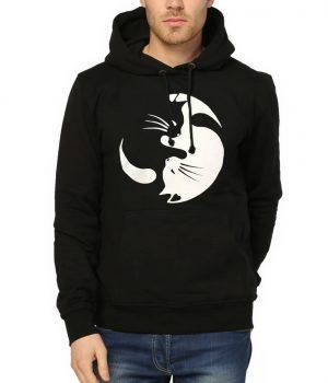 Yin Yang Kedi Siyah Kapşonlu Erkek Sweatshirt