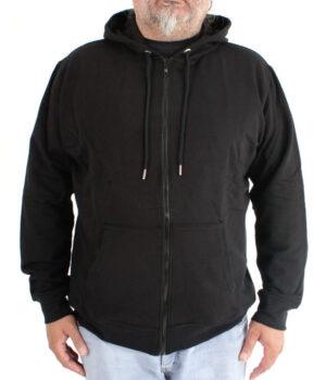 Büyük Beden 4XL Fermuarlı Baharlık Siyah Kapşonlu Sweatshirt